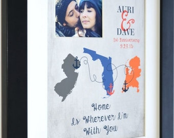 Anniversary gift for couples, 1st anniversary, gift, 3 maps army husband wife military life home is wherever im with you long distance love