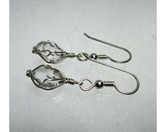 3/8+ Wirewrap HERKIMER DIAMOND EARRINGS - Argentium Sterling Silver - ww866
