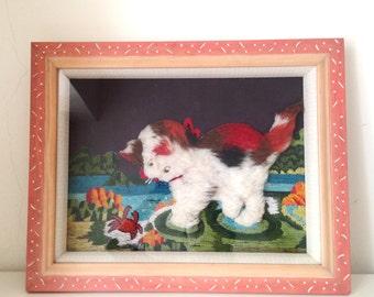 SALE- Vintage knitting wool dog painting frame