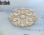 Medium Sized Medallian Wood Applique Furniture Door Drawer Dresser Kitchen Embelishment Decoration Ornate Detail Trim DETAILS LISTED BELOW