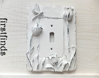 Light Switch Cover Plate Shabby Chic White Electrical Framed Painted Vintage Tulip Flowers Dragonfly Distressed Toggle ITEM DETAILS BELOW