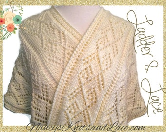 Ladies Shawl Wrap Hand knit Ladder Lace Winter White Caron Simply Soft Cream