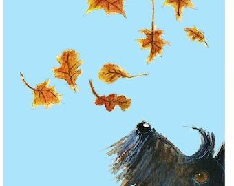 Scottie Dog 'Fall' Art Print Scottish Terrier Dog #103