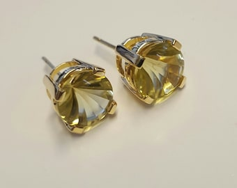 Vintage 14k Yellow Gold Lemon Quartz Stud Earrings