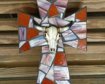 Western Mosaic Cross with Longhorn, Stained Glass Mosaic Cross Wall Hanging in Burnt Orange and Brown