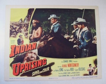 Antique Indian Uprising Movie Lobby Poster Card, 1951, Western Cowboy George Montgomery
