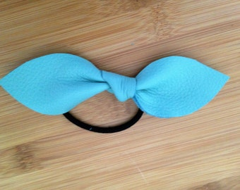 Genuine Leather Ponytail Holder Southern Blue