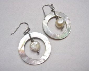 Dangling Pearl Earrings w/ Mother of Pearl Framing