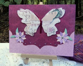 Butterfly Card Handmade Greeting Card Any Occasion Floral Design Card (Smile!) Birthday Card, Friendship Card