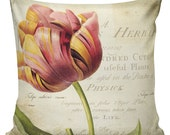 Spring Pillow Tulip with Cotton Front with Cotton or Burlap Back Throw Pillow Cover #EHD0033 Elliott Heath Designs