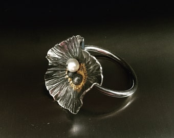 Silver and Pearl Flower Ring