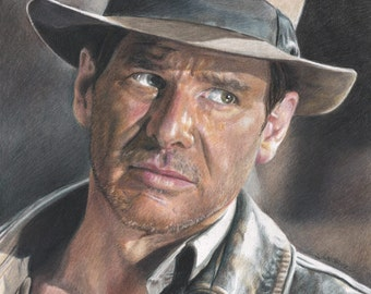 Drawing Print of Harrison Ford as Indiana Jones