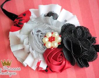 Class Act - Headband, Baby Headband, Photography Prop, Couture Headband, Hair Clip, OTT Headband, Black Red Silver, Shabby Chic Headband