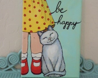 Cat Purring with Love.  Original Painting.  Acrylic Painting. Kitty Painting