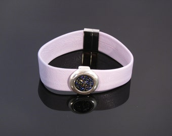 Lilac Crystal Leather Cuff