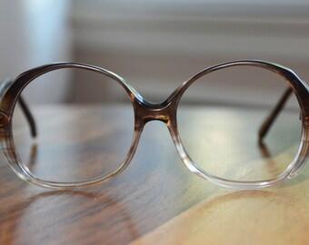 Brown Fades 1980s Oversized Vintage Eyeglasses 54/20 Frame France