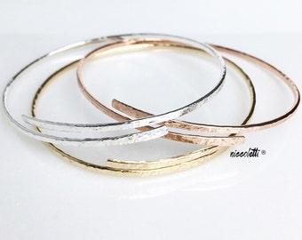 Oval Bypass Bangle / Tri Colored Stacking Bangles / 14k Gold Filled Bangle Bracelet / Rose Gold Open Bangle / Adjustable Silver Bangles Set