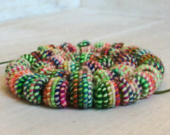 Handmade Fabric Textile Beads - Fiber Art Beads - Hippie Boho Bead - Handdyed Yarn -