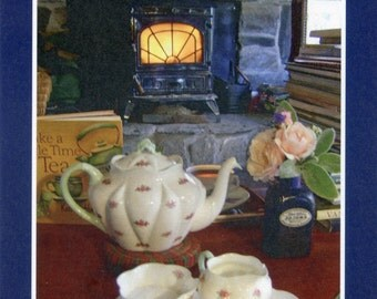 Afternoon tea by the fire  - photo card