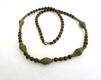Brass Wood Bead Tribal Necklace