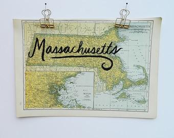 Massachusetts Vintage State Map