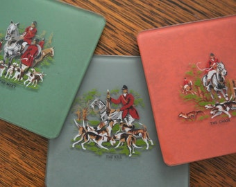 Vintage 1930s glass drink coasters with felt backing: Fox hunting theme - unusual and unique