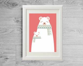 Illustration ours polaire maman et bébé avec écharpes - Affiches ours - Poster ours - Illustration nurserie - Illustration enfants bébé
