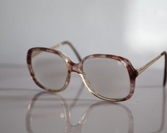 Vintage MENRAD Eyewear, Crystal Brown Frame,   Gold temples, Clear Lenses RX Prescription . Rare Piece.  Made in Germany
