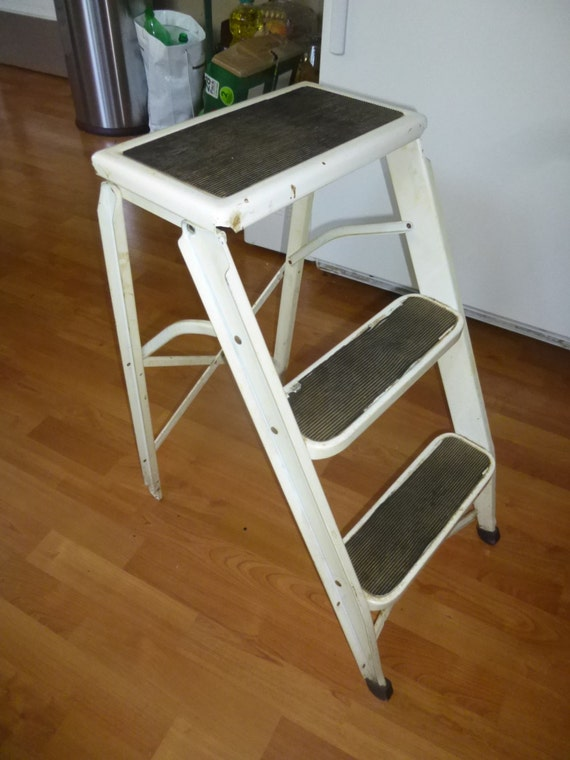 Funky Folding Steel Step Ladder Stepstool With 2 Rubber