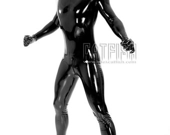Man Rubber Latex Sexy Catsuit Full Bodysuit