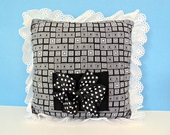 Black and White Tooth Fairy Pillow, Eyelet Trimmed Mini Pillow, Girls Room Decor , Pocket Pillow