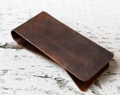 Copper Money Clip - Stocking Stuffer - YOUR CHOICE - Forged Hammered Texture Oxidized Handcrafted Tribal Rustic Masculine Rugged Antique