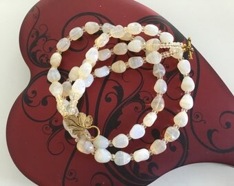 Marbled Czech Bead Necklace