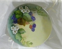 XMAS in July Sale Vintage Beautiful Hand Painted Floral China Plate, M & Z Austria, Blackberries, Blossoms and Vines