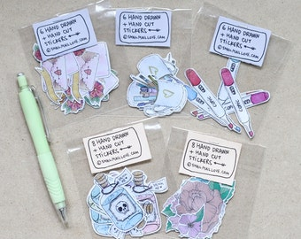 Hand Drawn + Hand Cut Stickers (5 Assorted Designs)