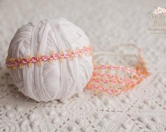 Headband / Pink and gold headband/newborn prop/ photography prop (SALE)