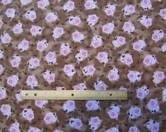 Brown with Pink Pigs in Mud Cotton Fabric by the Yard