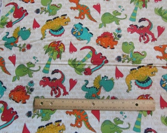 Cream Dinosaur This is How Much I Love You Cotton Fabric by the Yard