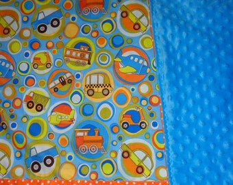 Blue/Orange Truck/Car/Train/Plane/Circles Cotton/Minky Baby/Toddler Blanket