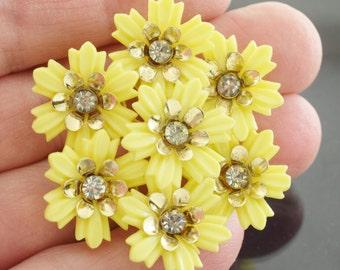 Vintage Plastic & Rhinestone Flower Brooch Bright Yellow 1960s Mid Century ~ Lot 9901
