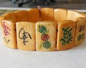ANTIQUE MAHJONG BRACELET-Early Art Deco-French Galalith-Beautiful Butterscotch Color-Detailed Enameled Chiclets-Stretch Style-Captivating!!!