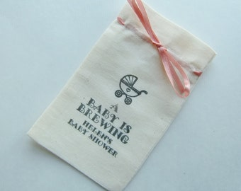 Baby Shower Favor Bags, 5x3, Fine Quality Cotton Muslin-Vintage Carriage-A Baby Is Brewing-Personalized Favor Bags-Various Qtys