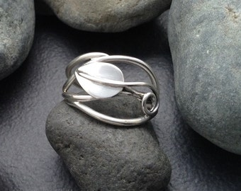 Leaf ring sterling silver vines branches tendrils, individually handcrafted size 7 & 1/4, Elfin Works design