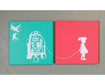 Custom - A Girl (or Boy) and Her (or His) R2-D2 Star Wars canvas wall art (acrylic paint, vinyl, 10x10, 12x12 R2D2)
