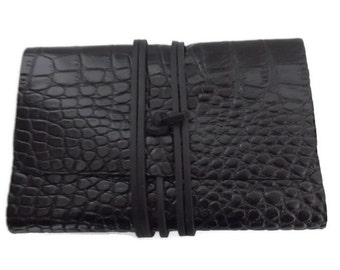 Leather Notebook Cover,  Moleskine Cover, Journal Cover,  Hand Stitched, Black Crocodile Embossed Leather,