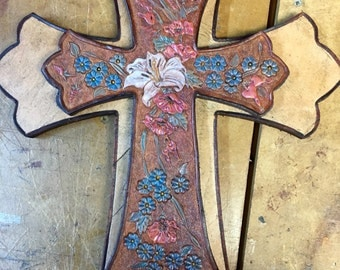 Custom Hand Tooled, Painted, Stackd Leather Cross with Personalization