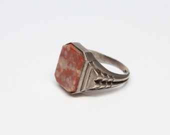 Art Deco Silver and Agate Gents Ring - Superb Craftsmanship