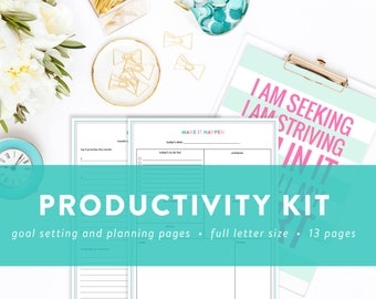 Productivity Kit - Printable To Do Lists, Daily and Weekly Planners, Goals Worksheet, Routine Tracker -  INSTANT DOWNLOAD