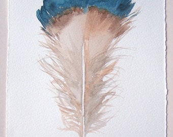 Watercolor feather painting/ Beige blue feather illustration/ Minimalist art/ Small watercolors7,5'x11'/ Feather wall art/ Nature painting