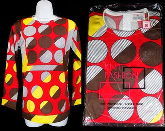 Vintage 60's KNIT FASHION Deadstock Tunic Top Red & Brown Circle Pattern Size S,M,L